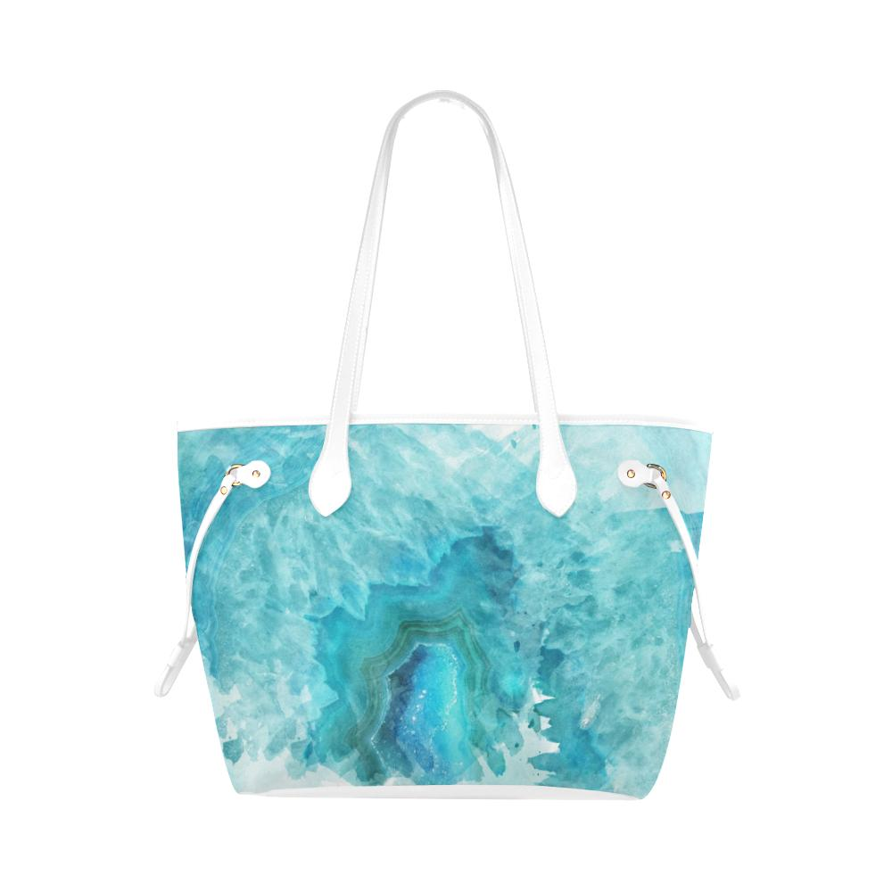 Castlefield Design Blue Aqua Agate Canvas Tote