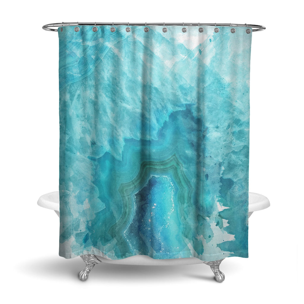 Castlefield Design Blue Aqua Agate Shower Curtain