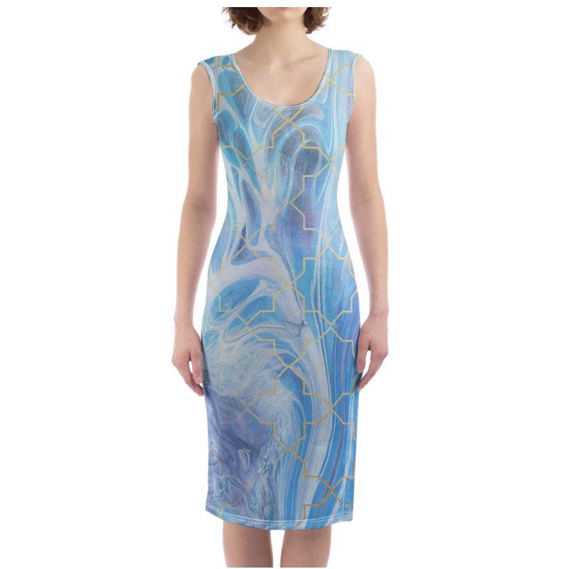 Castlefield Design Blue Marble Geometric Bodycon Dress