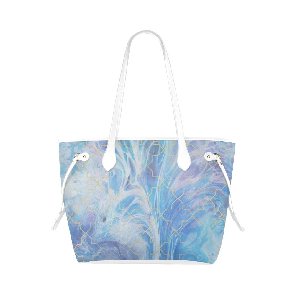 Castlefield Design Blue Marble Geometric Canvas Tote