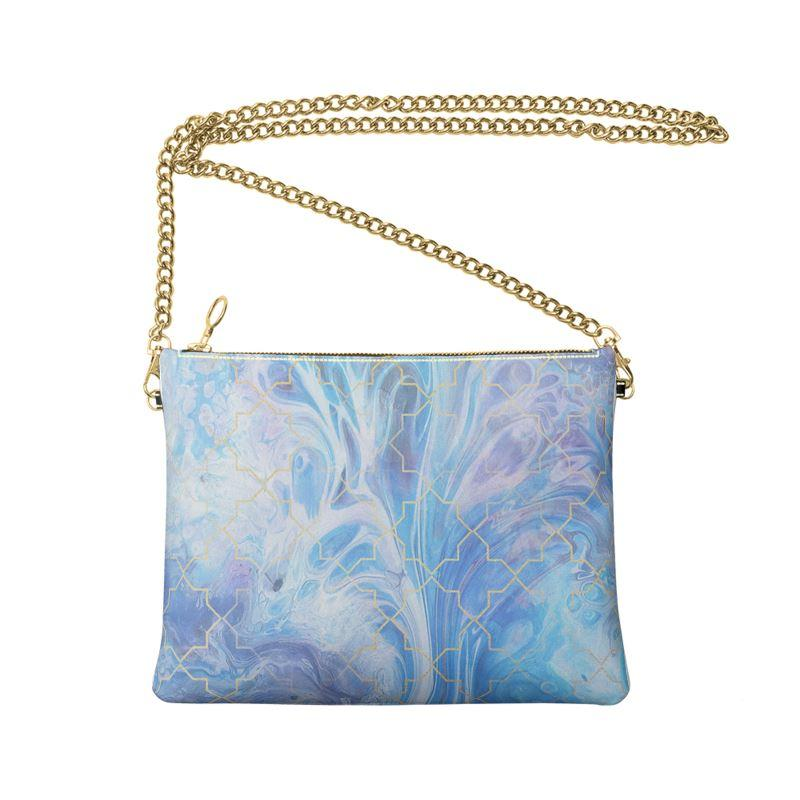 Castlefield Design Blue Marble Geometric Crossbody Bag
