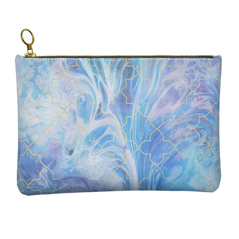Castlefield Design Blue Marble Geometric Leather Clutch