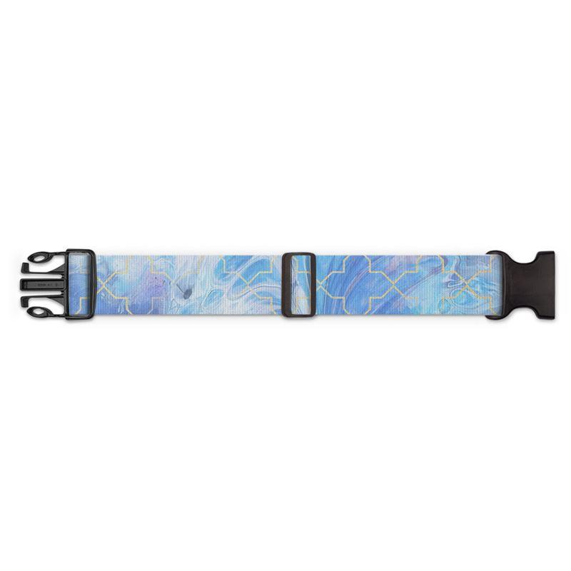 Castlefield Design Blue Marble Geometric Luggage Strap