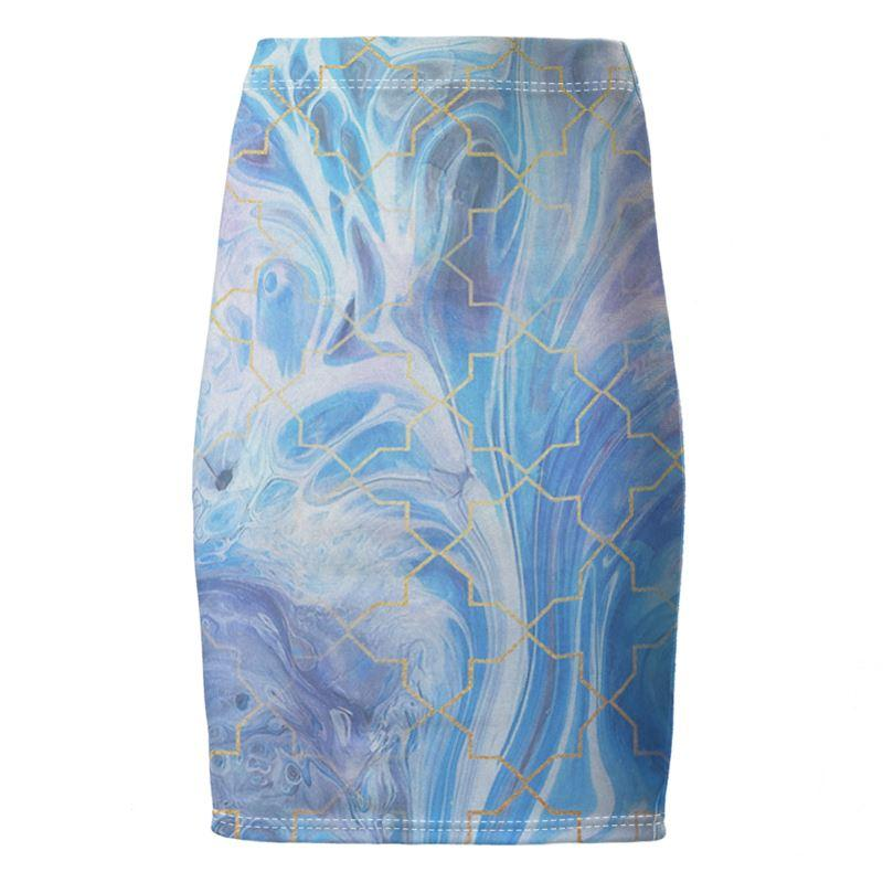 Castlefield Design Blue Marble Geometric Pencil Skirt