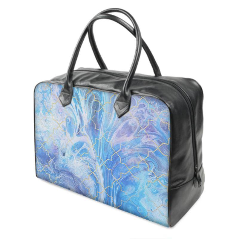 Castlefield Design Blue Marble Geometric Weekender Bag