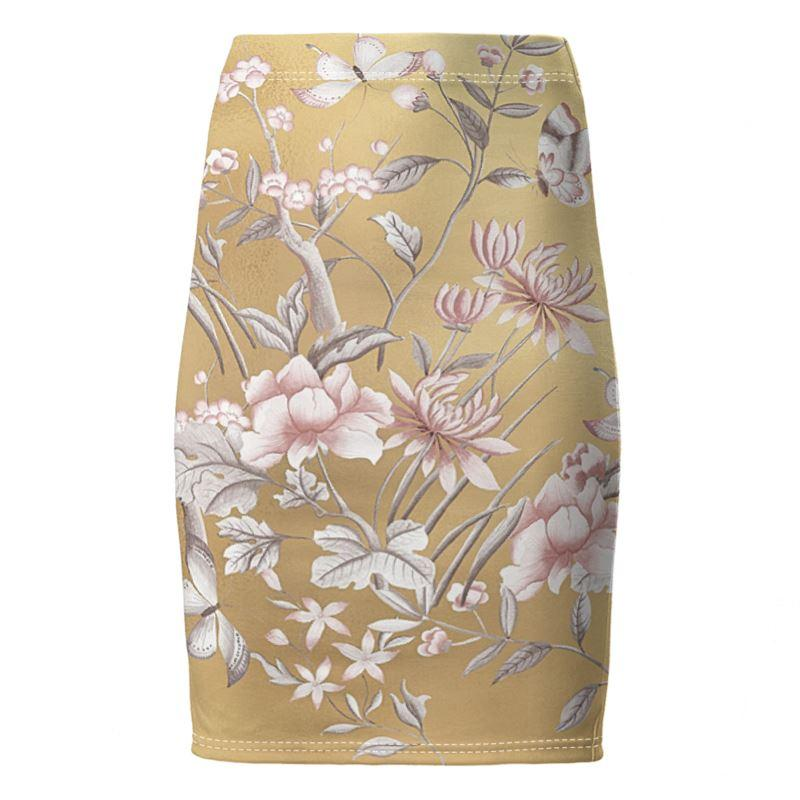 Castlefield Design Chinoiserie Gold Pencil Skirt