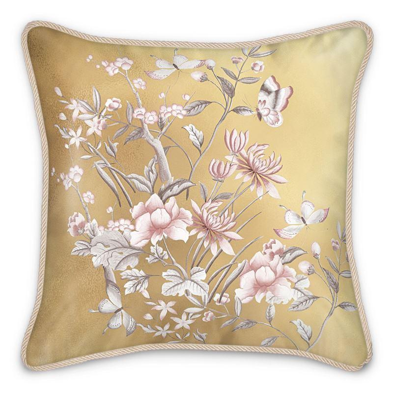 Castlefield Design Chinoiserie Gold Silk Cushion