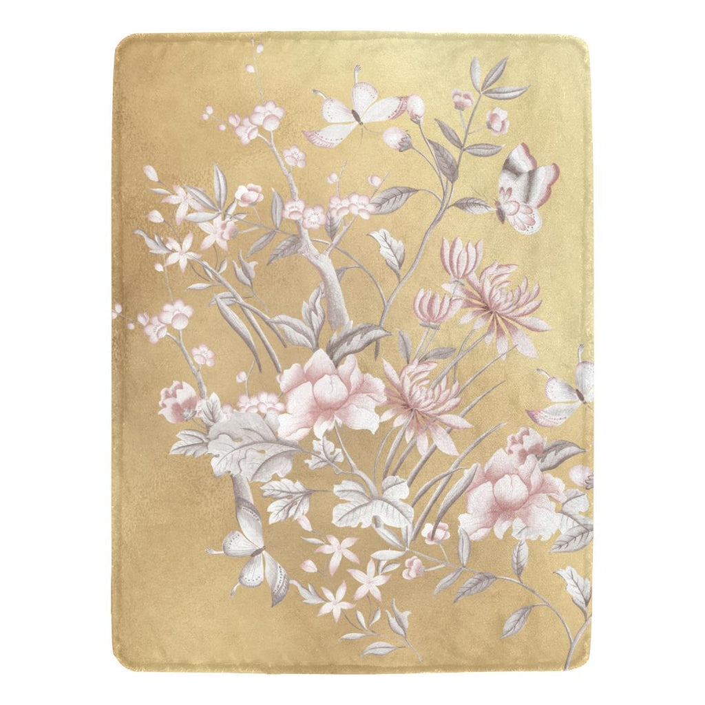 Castlefield Design Chinoiserie Gold Throw Blanket