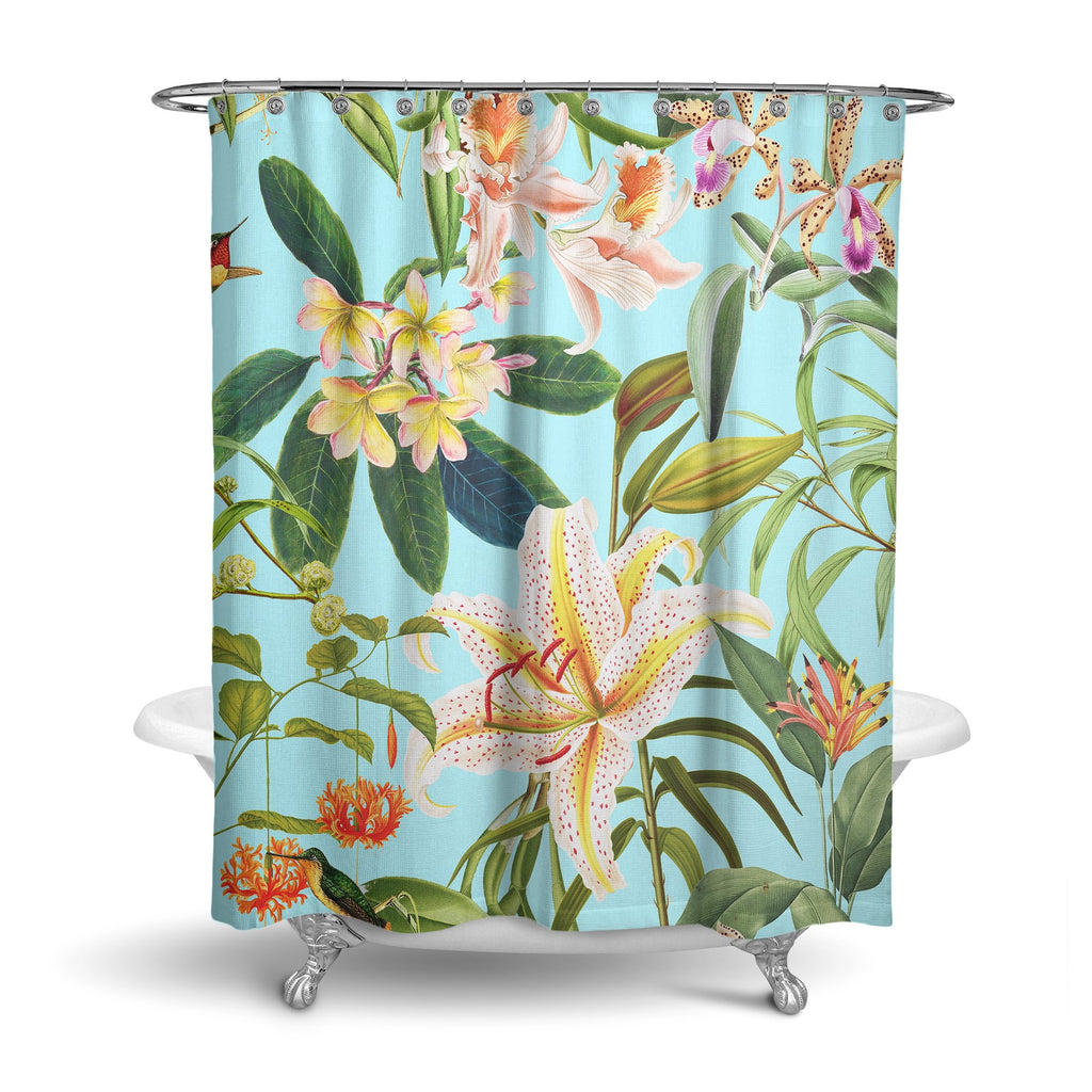 Castlefield Design Hummingbird Garden Shower Curtain