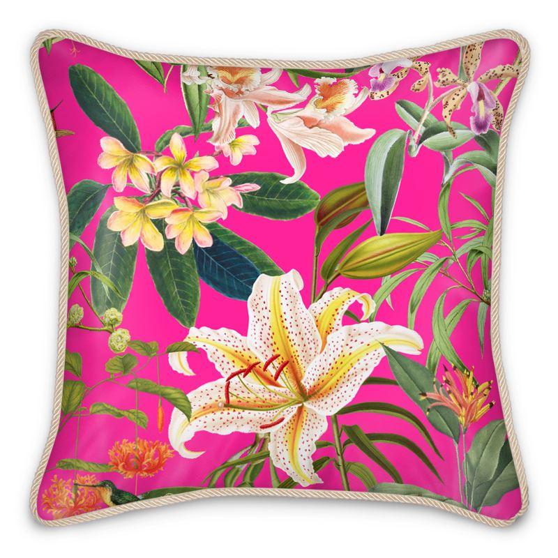 Castlefield Design Hummingbird Garden Silk Cushion