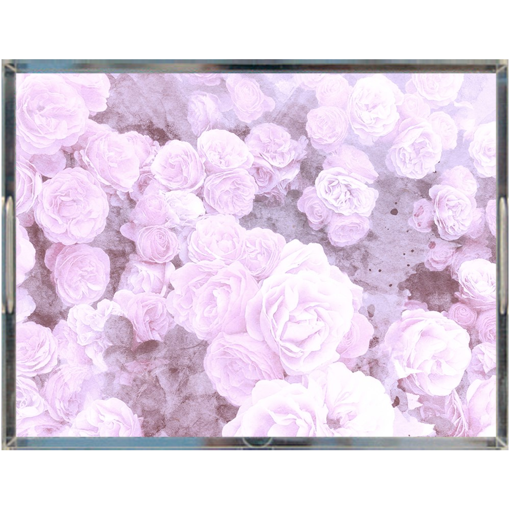 Castlefield Design Lilac Floral Acrylic Trays