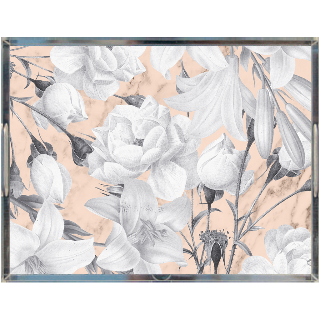 Castlefield Design Marble Floral Acrylic Trays