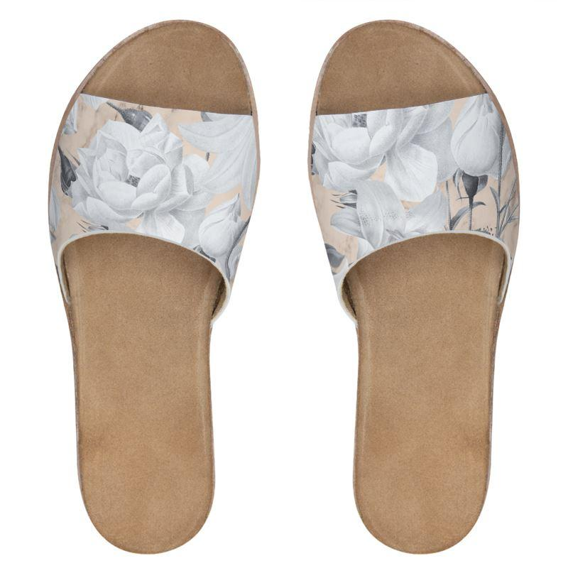 Castlefield Design Marble Floral Leather Sliders