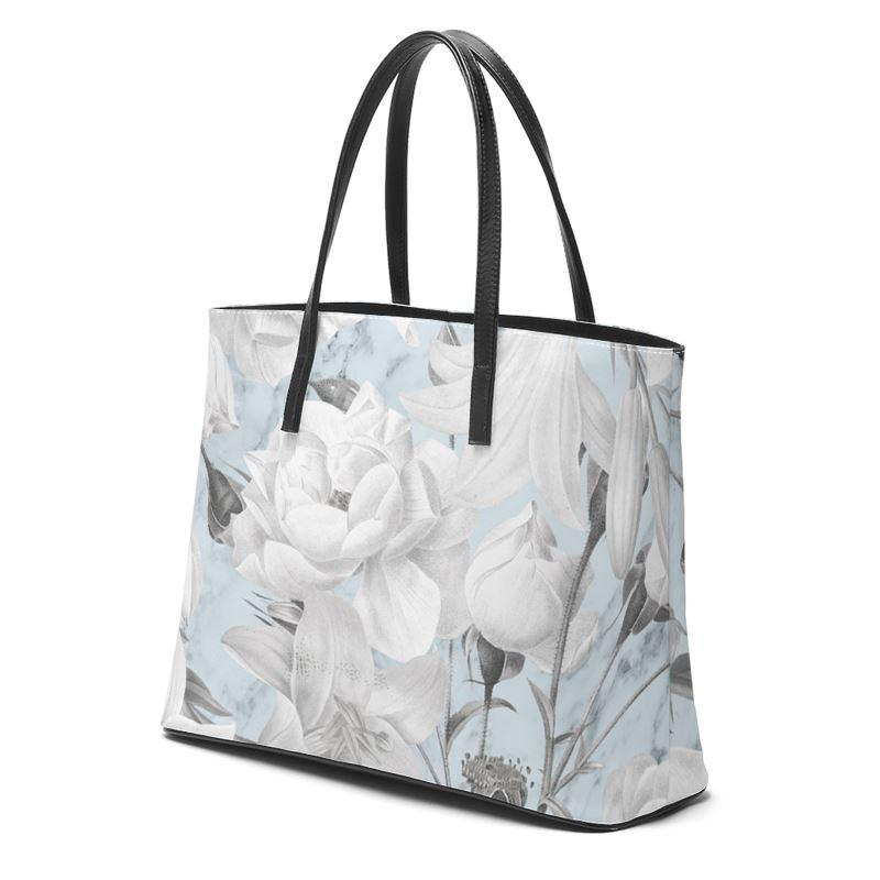 Castlefield Design Marble Floral Leather Tote