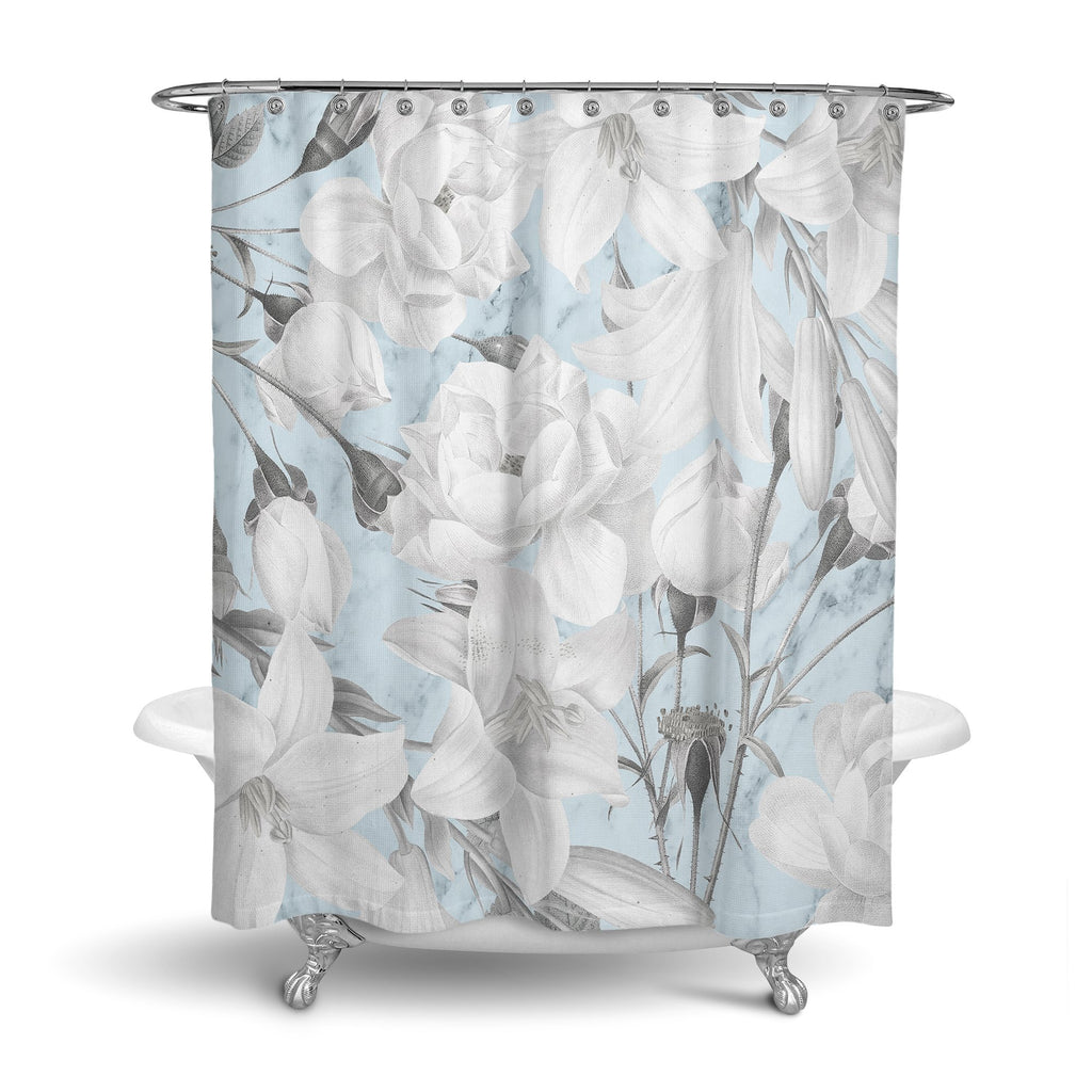 Castlefield Design Marble Floral Shower Curtain