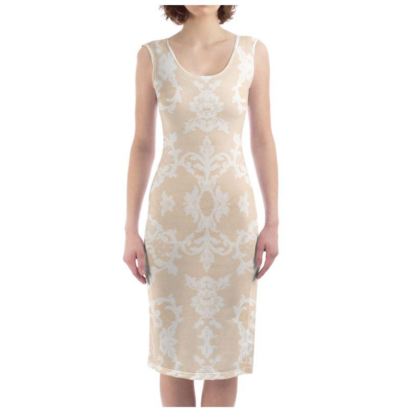 Castlefield Design Neutral Lace Bodycon Dress