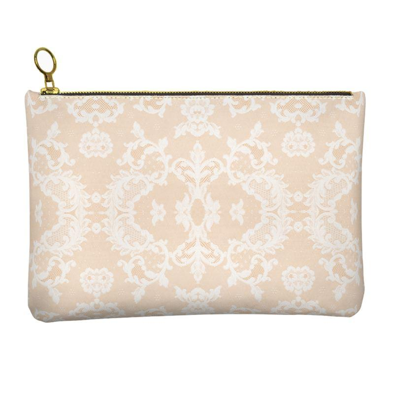 Castlefield Design Neutral Lace Leather Clutch