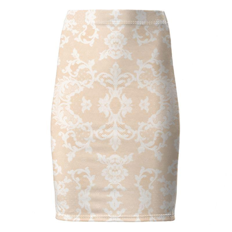 Castlefield Design Neutral Lace Pencil Skirt