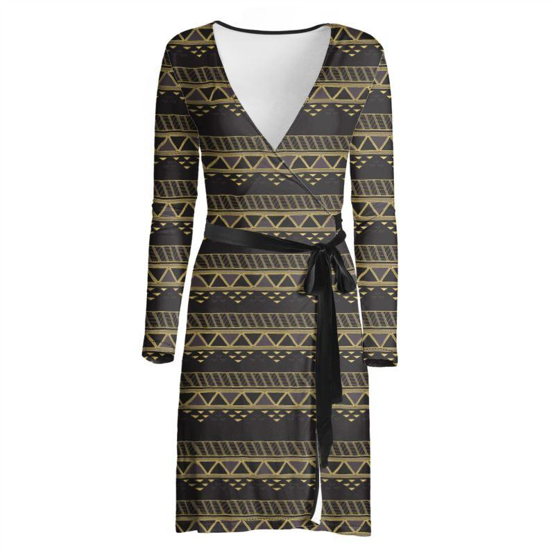 Castlefield Design Panther Geometric Wrap Dress
