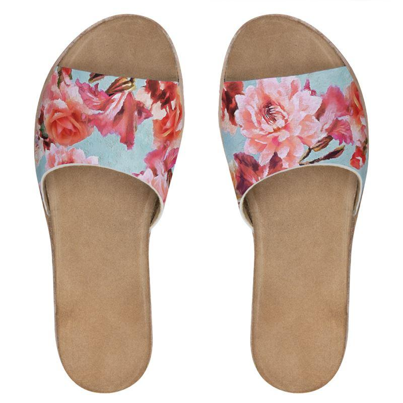 Castlefield Design Sunny Floral Leather Sliders