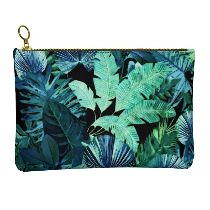 Castlefield Design Tropical Leaf Leather Clutch