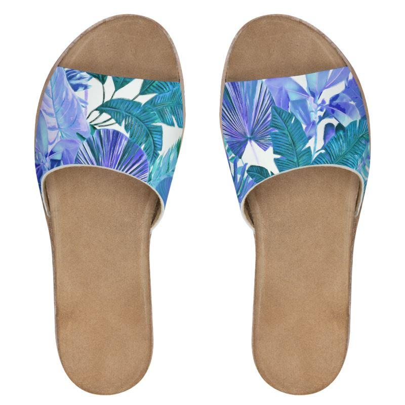 Castlefield Design Tropical Leaf Leather Sliders