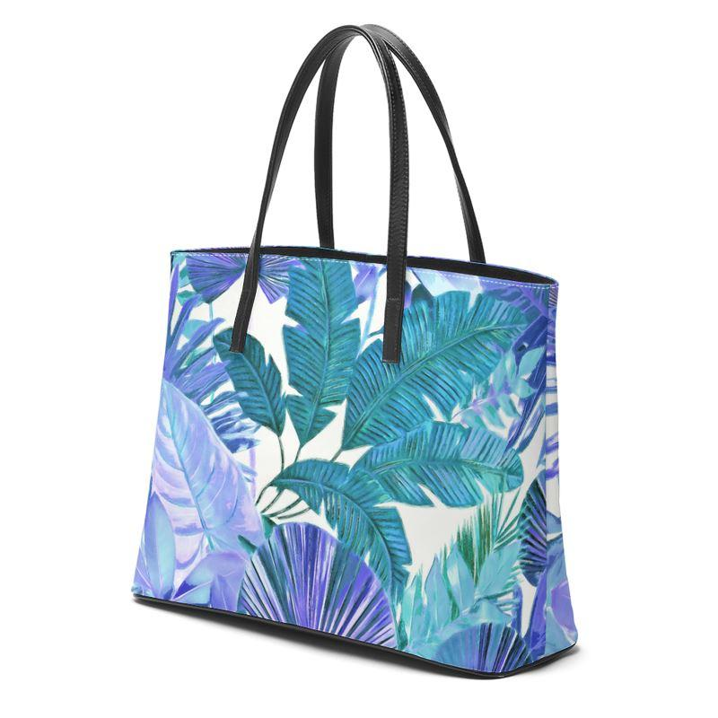 Castlefield Design Tropical Leaf Leather Tote