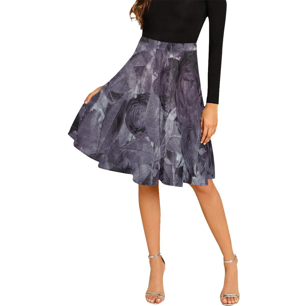 Castlefield Design Watercolor Roses Purple Midi Skirt
