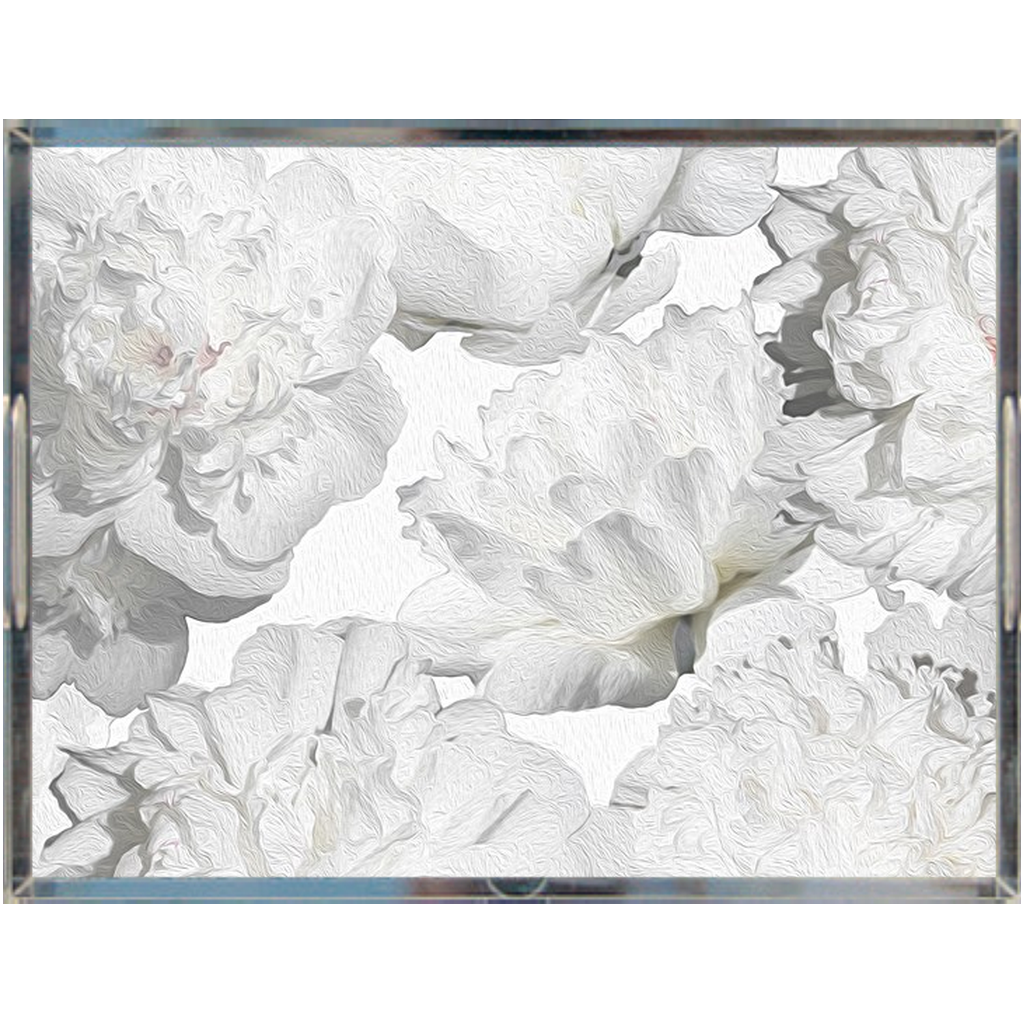 Castlefield Design White Peonies Acrylic Trays