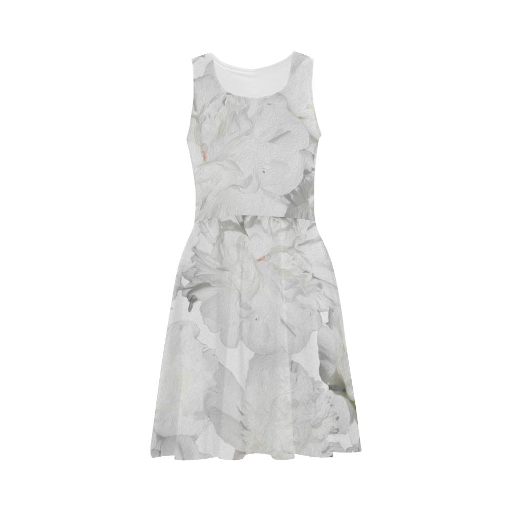 Castlefield Design White Peonies Flare Dress