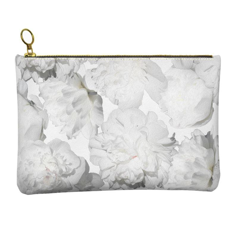 Castlefield Design White Peonies Leather Clutch