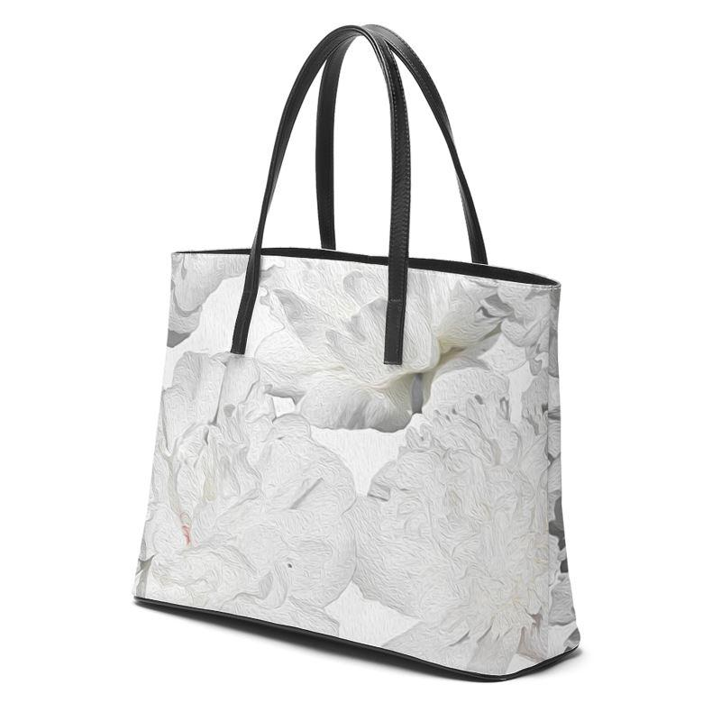 Castlefield Design White Peonies Leather Tote