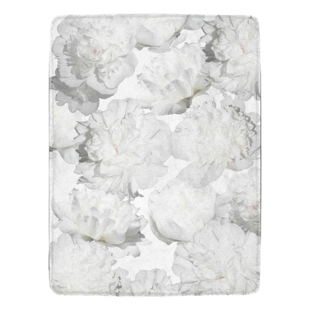 Castlefield Design White Peonies Throw Blanket