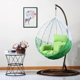 Dreamline Outdoor Furniture Single Seater Hanging Swing With Stand For Balcony , Garden Swing (White+Green)