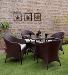 Dreamline Outdoor Furniture Garden Patio Seating Set 1+4 4 Chairs and Table Set Balcony Furniture Coffee Table Set (Dark Brown)