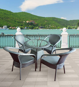 Dreamline Outdoor Furniture Garden Patio Seating Set 1+4 4 Chairs and Table Set Balcony Furniture Coffee Table Set (Silver)