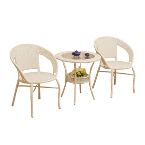 Dreamline Outdoor Furniture Garden Patio Seating Set 1+2 2 Chairs and Table Set Balcony Furniture Coffee Table Sets (Cream)