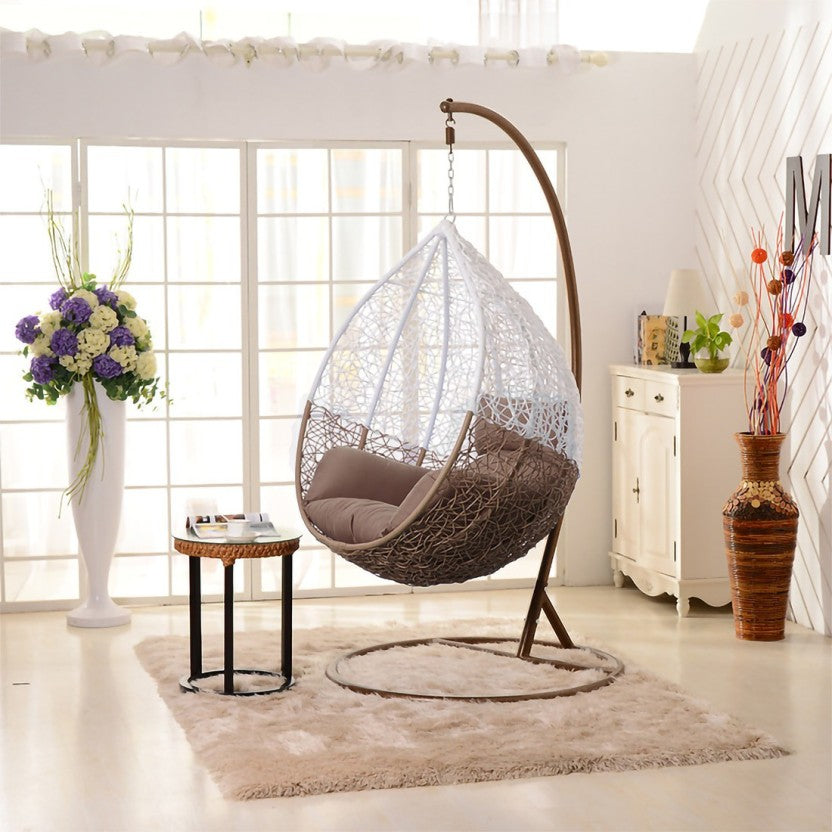 Dreamline Outdoor Furniture Single Seater Hanging Swing With Stand For Balcony , Garden Swing (White+Brown)