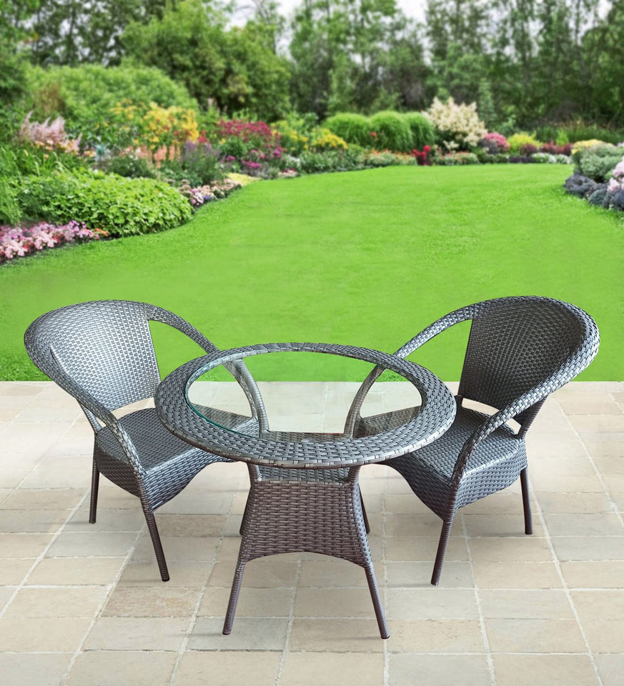 Dreamline Outdoor Furniture Garden Patio Seating Set 1+2 2 Chairs and Table Set Balcony Furniture Coffee Table Set (Silver)