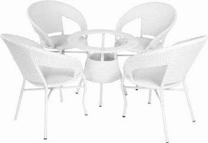 Dreamline Outdoor Furniture Garden Patio Seating Set 1+4 4 Chairs and Table Set Balcony Furniture Coffee Table Sets (White)