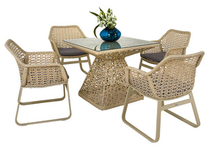 Dreamline Outdoor Garden Patio Dining Set 4 Chairs and 1 Table Set Outdoor Furniture