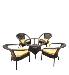 Dreamline Outdoor Furniture Garden Patio Seating Set 1+4 4 Chairs and Table Set Balcony Furniture Coffee Table Set