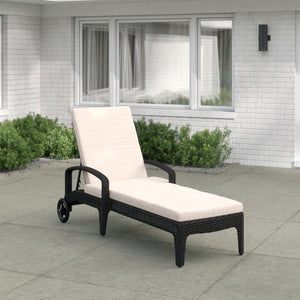Dreamline Outdoor Furniture Poolside Lounger With Cushion (Black) Swimming Pool Lounger