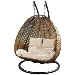 Dreamline Outdoor Furniture Double Seater Hanging Swing With Stand For Balcony , Garden Swing (Gold)