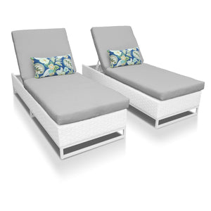 Dreamline Outdoor Furniture Poolside Lounger With Cushion (White) Swimming Pool Lounger (Set of 2 )