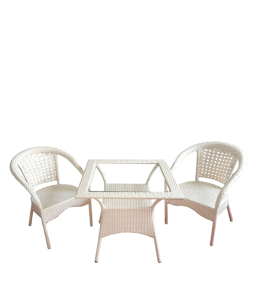 Dreamline Outdoor Furniture Garden Patio Seating Set 1+2 2 Chairs and Table Set Balcony Furniture Coffee Table Set (Cream)
