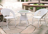 Dreamline Outdoor Furniture Garden Patio Seating Set 1+2 2 Chairs and Table Set Balcony Furniture Coffee Table Sets(White)
