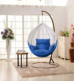 Dreamline Outdoor Furniture Single Seater Hanging Swing With Stand For Balcony , Garden Swing (White+blue)