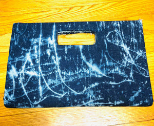 Denim Tie-Dyed Clutch Purse