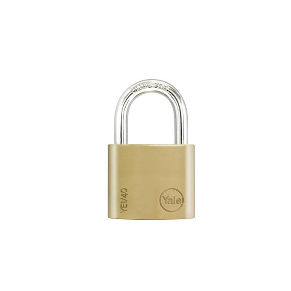 Yale Essential Series Indoor Brass Standard Shackle Padlock 40mm (YE1/40/122/1)